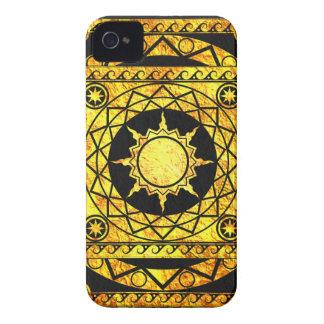 Oro de la Atlántida de los artes en el cuero negro iPhone 4 Cárcasas
