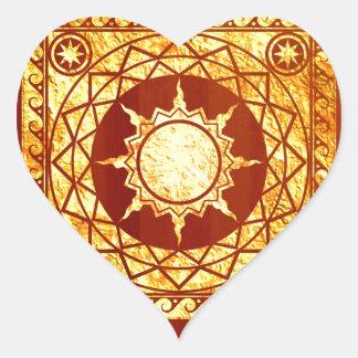 Oro de la Atlántida de los artes en la madera de Pegatina En Forma De Corazón