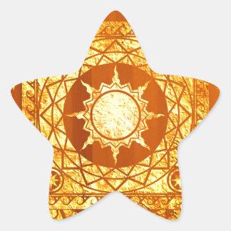 Oro de la Atlántida de los artes en la madera Pegatina En Forma De Estrella
