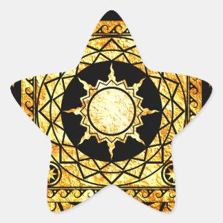 Oro de la Atlántida de los artes en negro Pegatina En Forma De Estrella