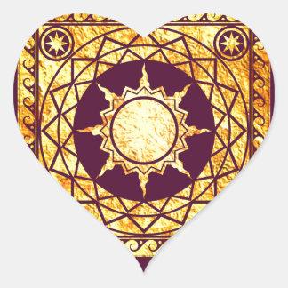 Oro de la Atlántida de los artes en púrpura Pegatina En Forma De Corazón