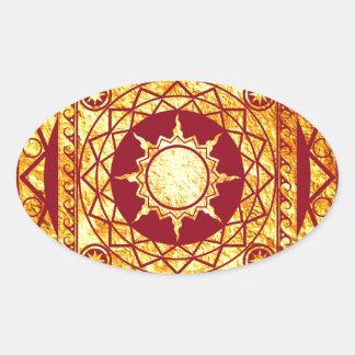 Oro de la Atlántida de los artes en rojo Pegatina Ovalada