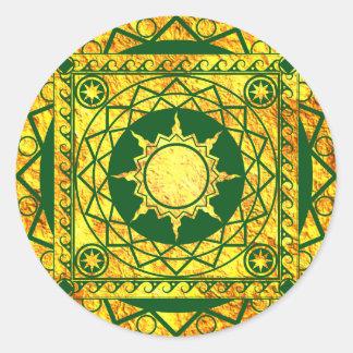 Oro de la Atlántida de los artes en verde Pegatina Redonda