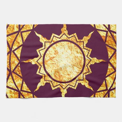 Oro de la Atlántida en púrpura Toallas De Cocina