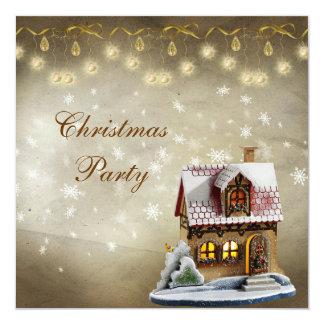 """Oro de la casa linda y fiesta de Navidad elegantes Invitación 5.25"""" X 5.25"""""""