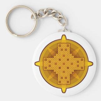 Oro de la cruz céltica 4 llavero
