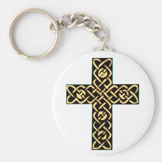 Oro de la cruz céltica 7 llaveros personalizados