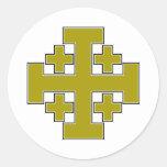 Oro de la cruz de Jerusalén Etiqueta Redonda
