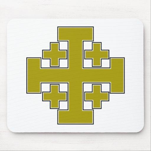 Oro de la cruz de Jerusalén Tapetes De Ratón