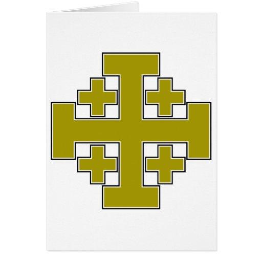 Oro de la cruz de Jerusalén Tarjetón