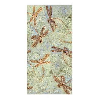 Oro de la danza de la libélula tarjetas con fotos personalizadas
