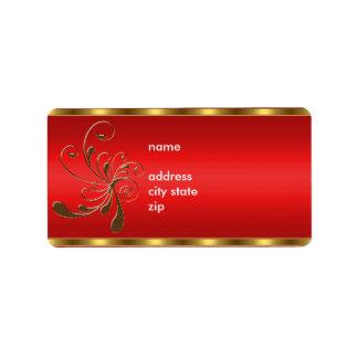 Oro de la dirección de la etiqueta floral en rojo etiqueta de dirección