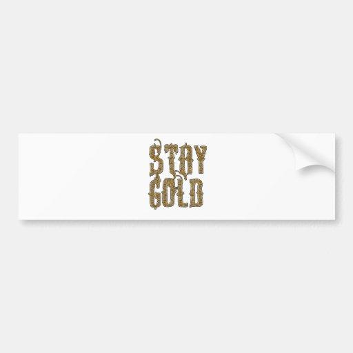 Oro de la estancia etiqueta de parachoque