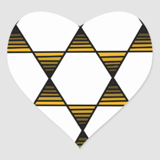 Oro de la estrella del hexágono pegatina en forma de corazón