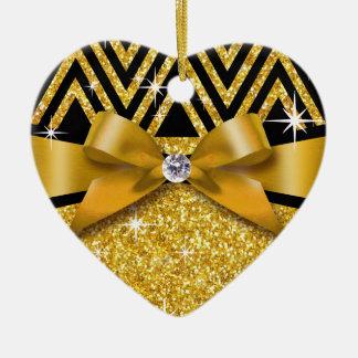 Oro de la FOTO el | del diamante de Chevron Bling Adorno Navideño De Cerámica En Forma De Corazón