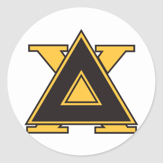 Oro de la insignia de la ji del delta pegatina redonda