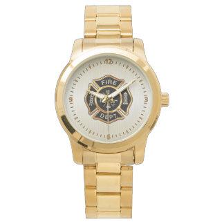 Oro de la insignia del cuerpo de bomberos reloj de mano