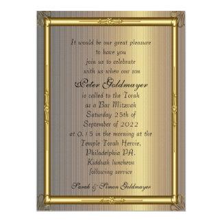 Oro de la invitación de Mitzvah de la barra