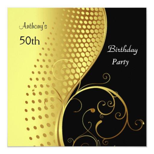 Oro de la invitación y fiesta de cumpleaños negra