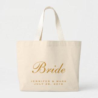Oro de la novia bolsa tela grande