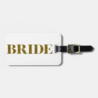 Oro de la novia del brillo etiquetas para maletas