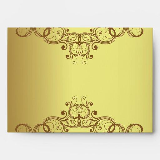 oro de la opción 3 del sobre 5x7 y damasco negro