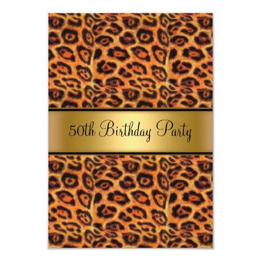 Oro de la piel del leopardo de la fiesta de invitación 8,9 x 12,7 cm