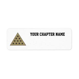 Oro de la pirámide de la sigma pi etiqueta de remitente