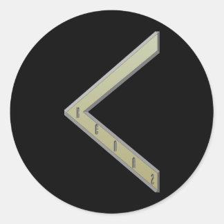 Oro de la runa de Kenaz Etiquetas Redondas