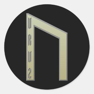 Oro de la runa de Uruz Pegatina Redonda