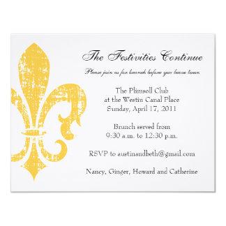 """Oro de la tarjeta de información del boda el   New Invitación 4.25"""" X 5.5"""""""