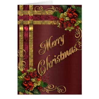 Oro de la tarjeta de la elegancia del navidad y