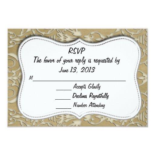 """Oro de la tarjeta del damasco de RSVP Invitación 3.5"""" X 5"""""""