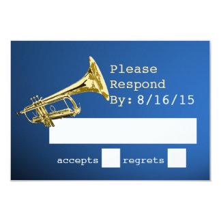 """Oro de la trompeta y respuesta azul invitación 3.5"""" x 5"""""""