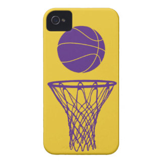 oro de Lakers de la silueta del baloncesto del iPh iPhone 4 Carcasas