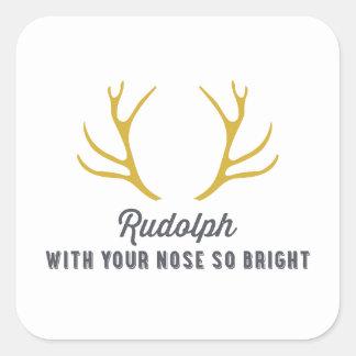 Oro de las astas el | de Rudolph Pegatina Cuadrada