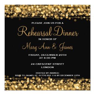 """Oro de las chispas de la cena del ensayo del boda invitación 5.25"""" x 5.25"""""""