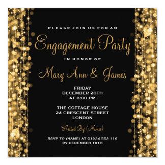 Oro de las chispas del fiesta de compromiso del invitación 13,3 cm x 13,3cm