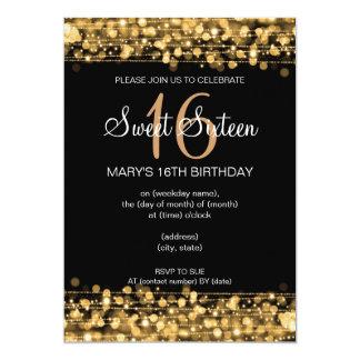 Oro de las chispas del fiesta del dulce dieciséis invitación 12,7 x 17,8 cm