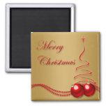 Oro de las Felices Navidad y árbol y chucherías ro Imanes