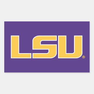 Oro de las letras de LSU y logotipo blanco Pegatina Rectangular