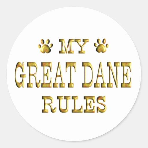 Oro de las reglas de great dane pegatina redonda