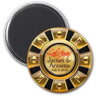 Oro de Las Vegas VIP y favor negro del microproces Imán Redondo 5 Cm