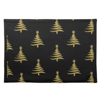 Oro de los árboles de navidad en negro mantel individual