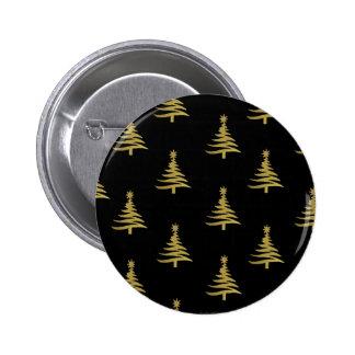 Oro de los árboles de navidad en negro pins