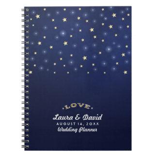 Oro de los azules marinos y boda de encargo del libros de apuntes con espiral
