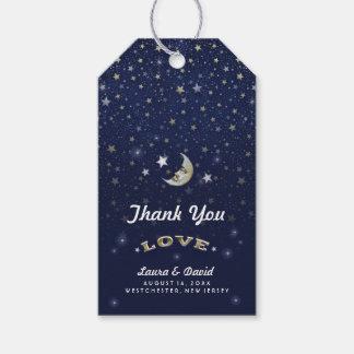Oro de los azules marinos y el casarse blanco de etiquetas para regalos