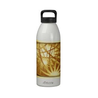 Oro de los fuegos artificiales botellas de agua reutilizables