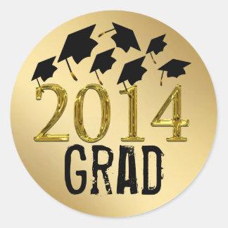 Oro de los gorras de la graduación del vuelo 2014 pegatina redonda