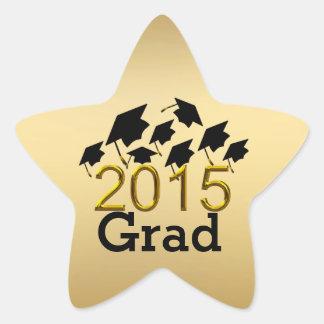 Oro de los gorras de la graduación del vuelo 2015 pegatina en forma de estrella